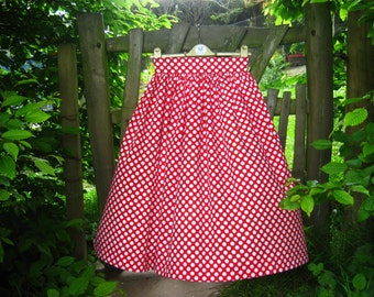 Made to measure  vintage style skirt,  fifties style skirt red with white polka dots, gathered full skirt, rock and roll, Minnie Mouse retro