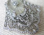 Vintage Edwardian/1920s 20s Sterling Silver Rapousse Filigree Dress Clip with Camphor Glass Cabochon