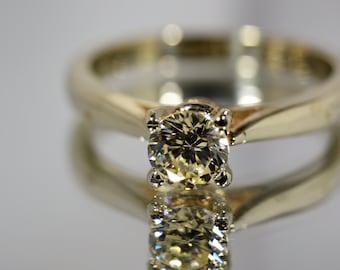 Round Cut Solitairen VVS/H  Simulated Diamond Ring, 14K Solid White Gold Ring, 14k Solid Gold Ring