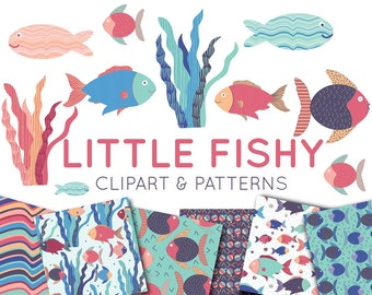 Fish Clipart - Fish Digital Paper - Under the Sea Seamless Patterns - Fishy Clip Art - Commercial Use - Bright Hand Drawn - Party Invitation