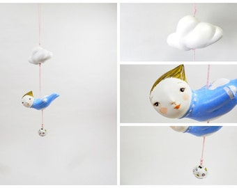 chime mobile,hanging mobile & bell, unique  gift, by atelierRJM