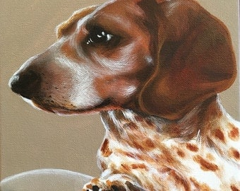 Custom Painted Pet Portrait on Wrapped Canvas (12x12in)