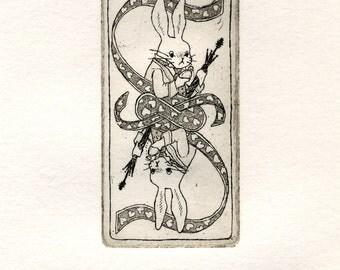 Illustration, Art Print, Alice in Wonderland, Home decor, Children, Fine art, Etching, Limited edition, Original graphic art  - White Rabbit
