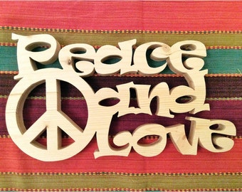 Word wooden - PEACE AND LOVE
