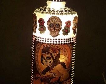 Large Hand Crafted Dia De los Muertos Wine Bottle Lamp