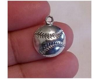15 Pcs Silver Tone Baseball Charms, Sports Charm Finding, Mini Pendant Charm, 18mm x 14mm, (CH-001)