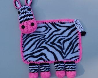 Zebra Crochet Lovey Blanket, Zebra Security Blanket