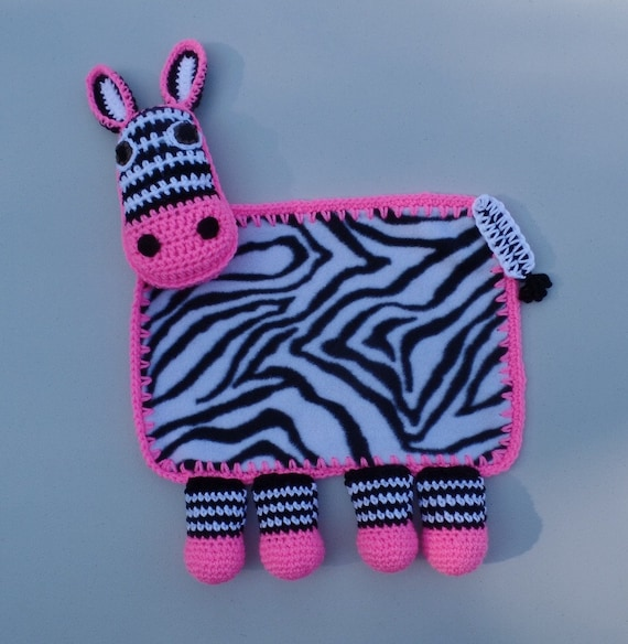 Crochet Zebra Blanket : Zebra Crochet Lovey Blanket, Zebra Security Blanket
