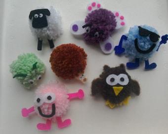 Pom pom animal fridge magnets, cute fun animal, face magnets