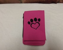 Embroidered Heart Paw Phone Pouch