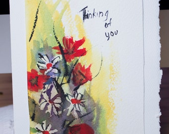 Greeting Card, Blank Card, Original Hand Painted, Watercolor Floral, Thinking of You