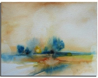 "Abstract Watercolor Painting 10""x8"" by Tatjana Ruzin Original Watercolor painting, Original Art Modern Art Abstract Landscape Painting, Gift"