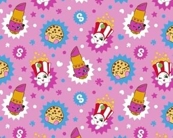 Moose Shopkins Toss Knit from Springs Creative - lippy lips, lipstick, season 1, cotton, lycra, Spandex, knit, Jersey, kooky cookie, fabric