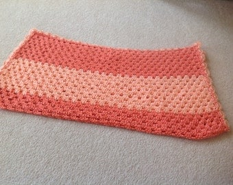 Peach handmade crochet blanket for your darling baby girl