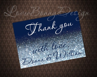 Navy And Silver Glitter Thank You Card Template, Silver Sparkles, Microsoft  Word, Instand  Microsoft Word Thank You Card Template