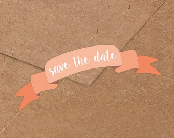 Save the Date Banner Stickers
