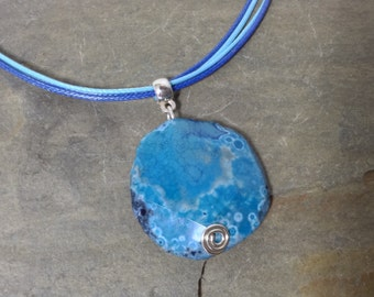 A beautiful blue agate pendant