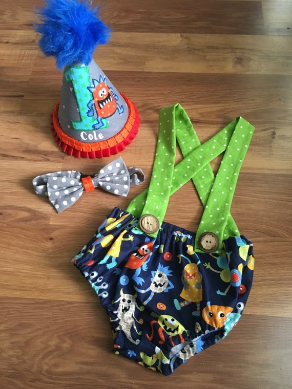 Monster First Birthday Cake Smash Outfit