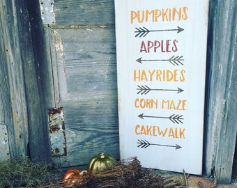 Wood Sign - Pumpkins Apples Hayrides Cakewalk Cornmaze - Fall Decor - Autumn Decor - Thanksgiving - Halloween - Harvest - Farmhouse Style