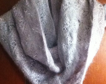 Hand Knit Mohair Beaded Infinity Scarf
