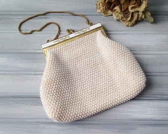 Vintage White and Gold Beaded Purse / Vintage White and Gold Beaded Handbag / White Vintage Purse / White vintage clutch purse / white bag