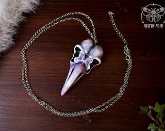 Long Raven Skull Necklace White