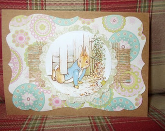 Greeting card handmade. Beatrix Potter cards. Peter Rabbit cards. Blank cards. Rustic cards. Jemima Puddleduck.