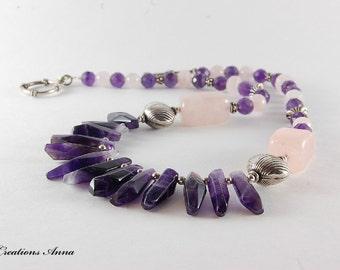 Amethyst, Rose Quartz, Sterling Silver, Gemstone Jewelry,Semiprecious Stones,Beaded Necklace,  Semiprecious gemstones