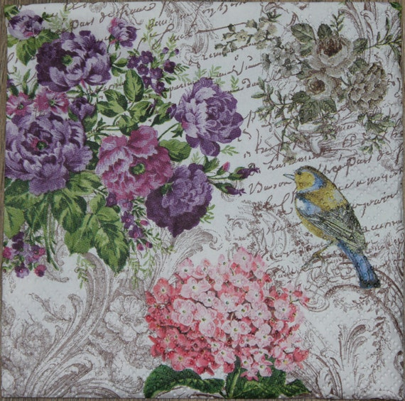 2 Paper Napkins For Decoupage Paper Napkins With Flowers