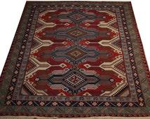soumak carpet rug 7x6 caucasian soumak rug vintage carpet rug red carpet ethnic carpet decorative carpet area rug hand knotted rug TB0283