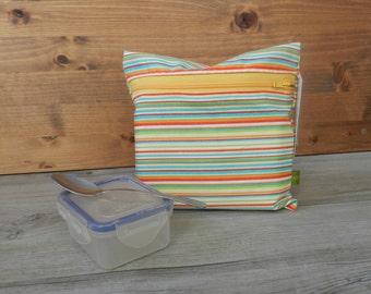 Bag for reusable snack bag waterproof snack, snack bag, snack bag, zipper, stripes, yellow, orange, turquoise