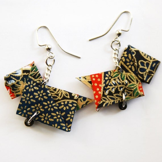 Origami Scottie Dog Earrings, Style 3