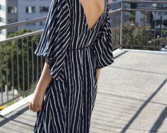 FINAL SALE Harper Dress- Midi length dress with low, open back and kimono sleeves (Navy Stripe) (Reg.114.00)