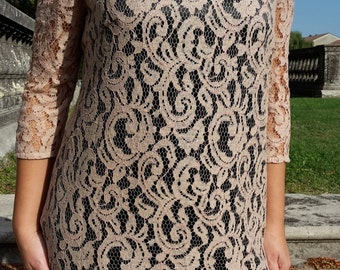 Lace dress with satin lining