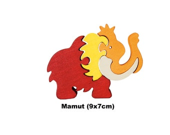 Mini Puzzle Mamut / Handmade / Animals / Wooden toys / Dino / Waldorf / Montessori
