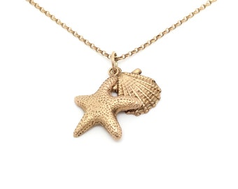 Rose gold starfish and shell pendant, rose gold plated silver sea pendant, sterling silver fish, starfish pendant, shell pendant, ocean