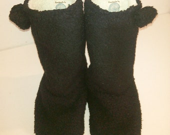 Soft black fake fur Slippers. Fun house boots. warm and snug.