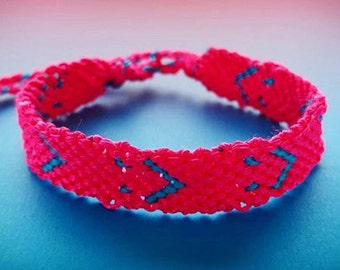 Braided Bracelet - Blue and pink flashy Smiley