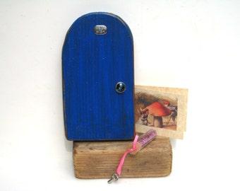 Blue Fairy Door Wood Fairy Door Fairy Garden Accessories For Fairies Fairy Door Faerie Door Elf Door Fairy Garden Wood Door DIY Fairy Kit