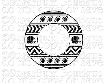 Football Circle Aztec Monogram svg