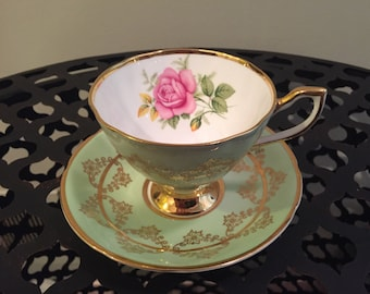Clare Mint Green Bone China Teacup And Saucer