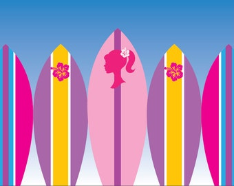Surfer Barbie Backdrop - Barbie Background - Barbie Birthday Party - Barbie Party - Surfer Birthday Party -  Barbie Birthday Printable Party
