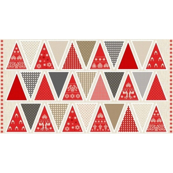 Christmas banner fabric christmas fabric bunting panel Make your own christmas bunting