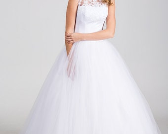 Vintage Inspired Fusion Minimalistic Wedding Dress with Lace Illusion Neckline, Lace Corset, Tulle Skirt, Lace Edge