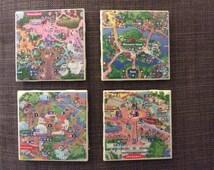 Disney Park Map Coaster Set