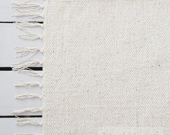 Oatmeal White Rug / Handwoven Cotton / The Abbi