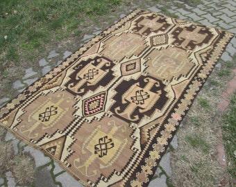 Kurdish Kilim Vintage Kilim Rug Tribal Decorative Muted Color Kilim Rug