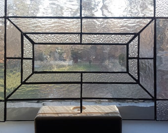 Clear Stained Glass Panel Modern Art Window Panel for the Home with Custom Display Holder
