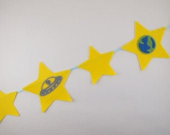 Space Banner, Party Bunting, Party Decor, Party Banner, Party Garland, Birthday Bunting, Personalised Bunting, Custom Bunting, Felt Bunting
