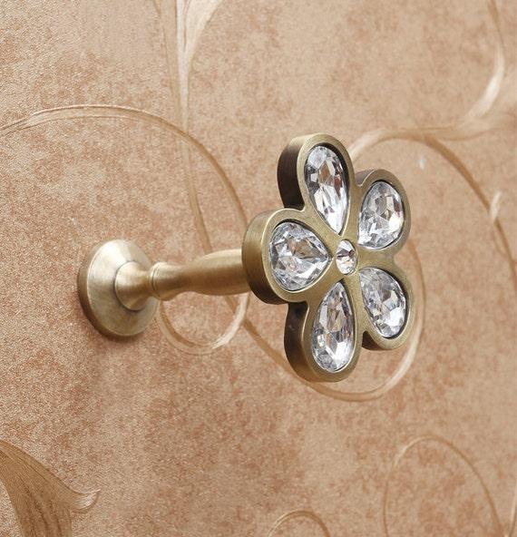 Rhinestone Flower Glass Wall Hook Decorative Hooks Coat